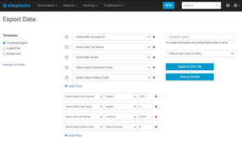 SimpleCirc subscriber management custom reporting