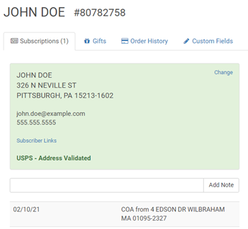 SimpleCirc verifies every address with the USPS address validation API