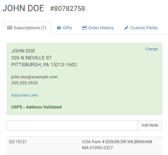 SimpleCirc verifies every address with the USPS address validation API